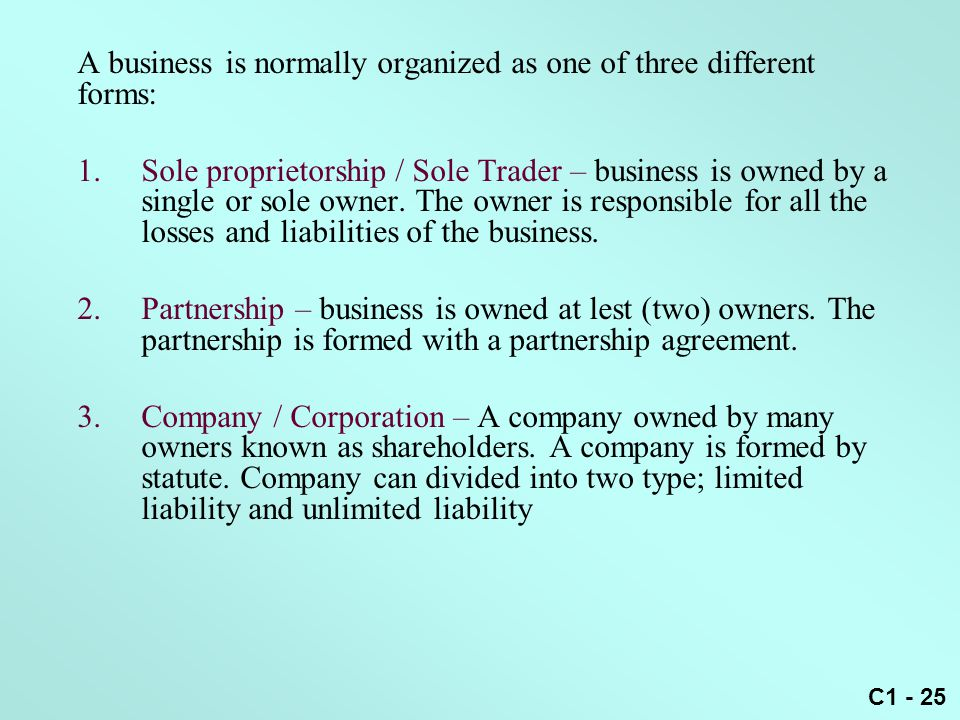 A business is normally organized as one of three different forms:
