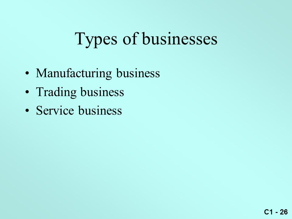 Types of businesses Manufacturing business Trading business