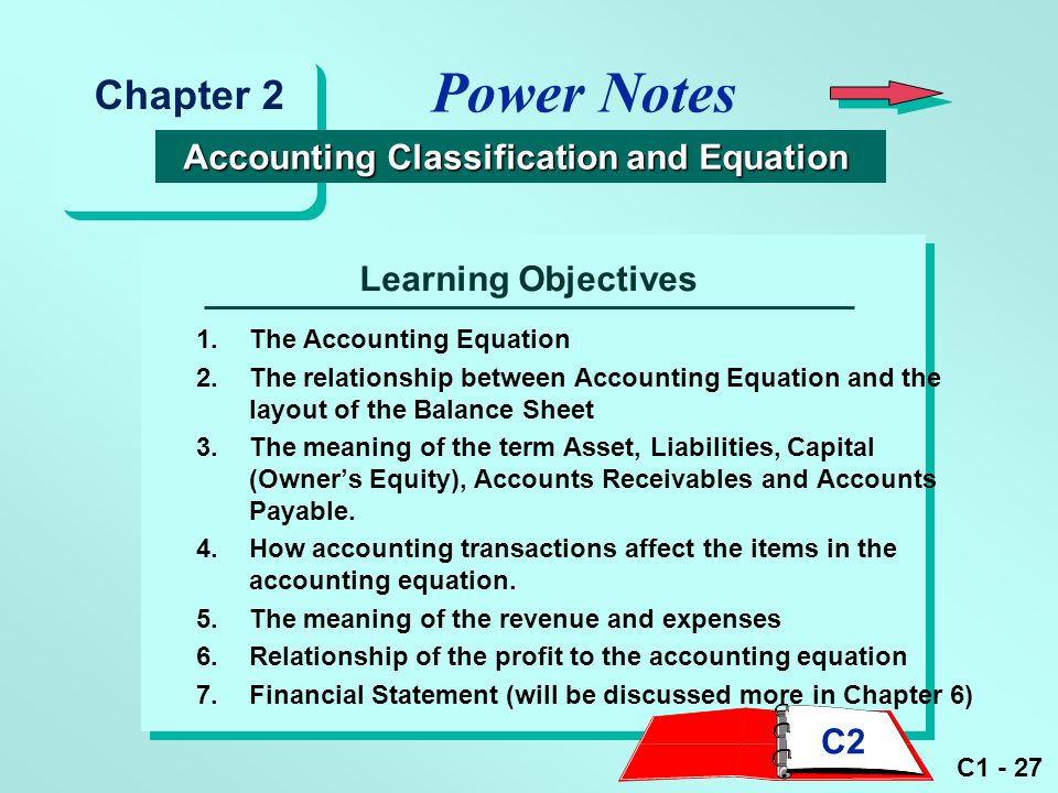 Power Notes Chapter 2 Accounting Classification and Equation