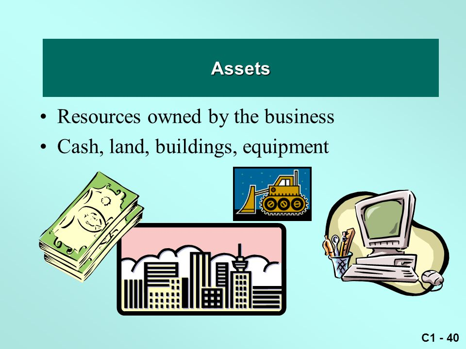Asset Resources owned by the business Cash, land, buildings, equipment