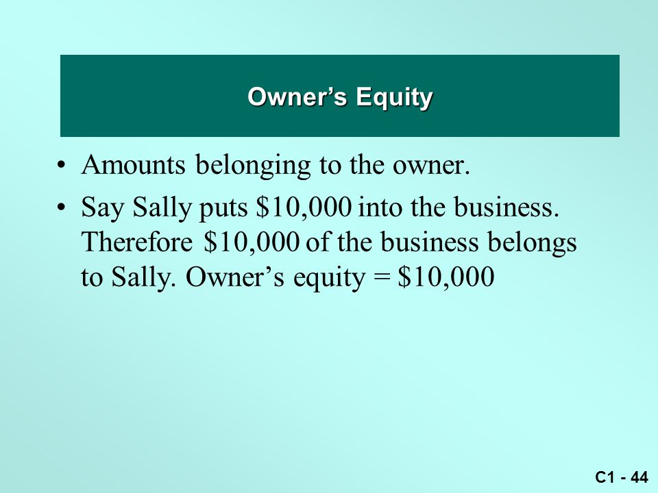 Owner's equity Amounts belonging to the owner.