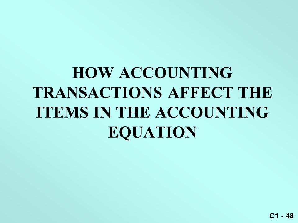 HOW ACCOUNTING TRANSACTIONS AFFECT THE ITEMS IN THE ACCOUNTING EQUATION