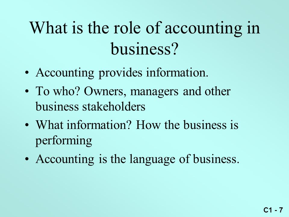 What is the role of accounting in business
