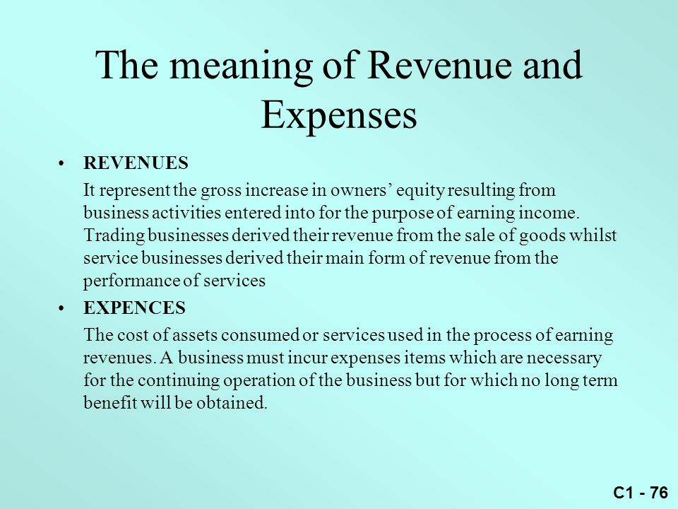 The meaning of Revenue and Expenses