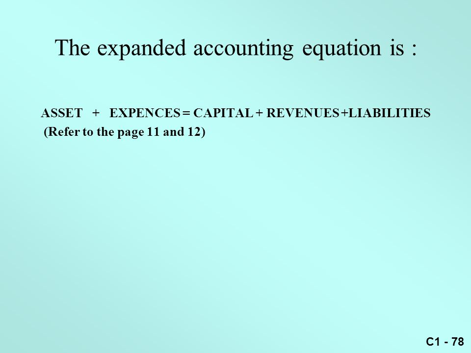 The expanded accounting equation is :