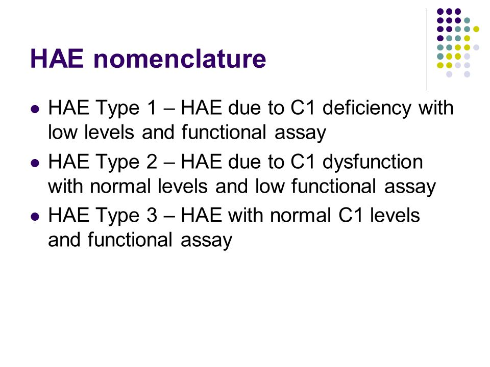 HAE nomenclature HAE Type 1 – HAE due to C1 deficiency with low levels and functional assay.