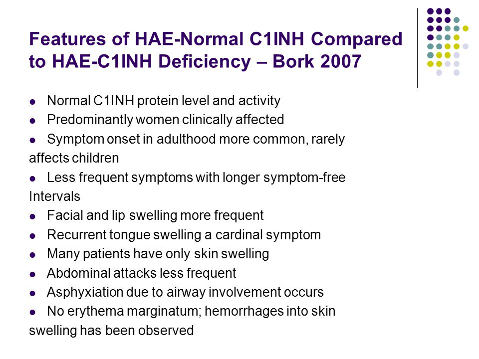 Features of HAE-Normal C1INH Compared to HAE-C1INH Deficiency – Bork 2007