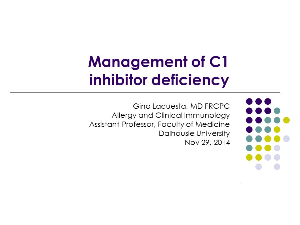 Management of C1 inhibitor deficiency