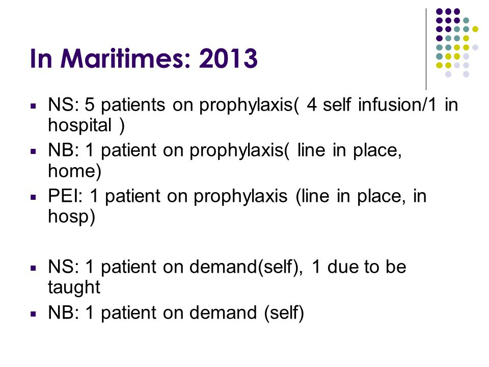 In Maritimes: 2013 NS: 5 patients on prophylaxis( 4 self infusion/1 in hospital ) NB: 1 patient on prophylaxis( line in place, home)