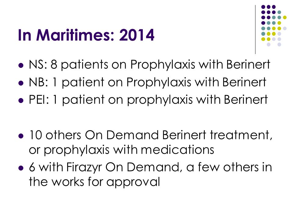 In Maritimes: 2014 NS: 8 patients on Prophylaxis with Berinert