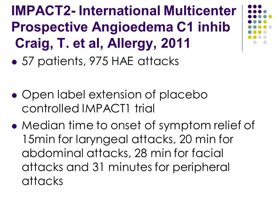 IMPACT2- International Multicenter Prospective Angioedema C1 inhib Craig, T. et al, Allergy, 2011