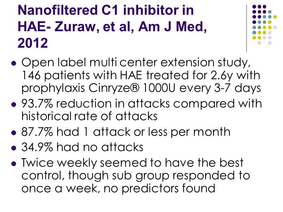 Nanofiltered C1 inhibitor in HAE- Zuraw, et al, Am J Med, 2012