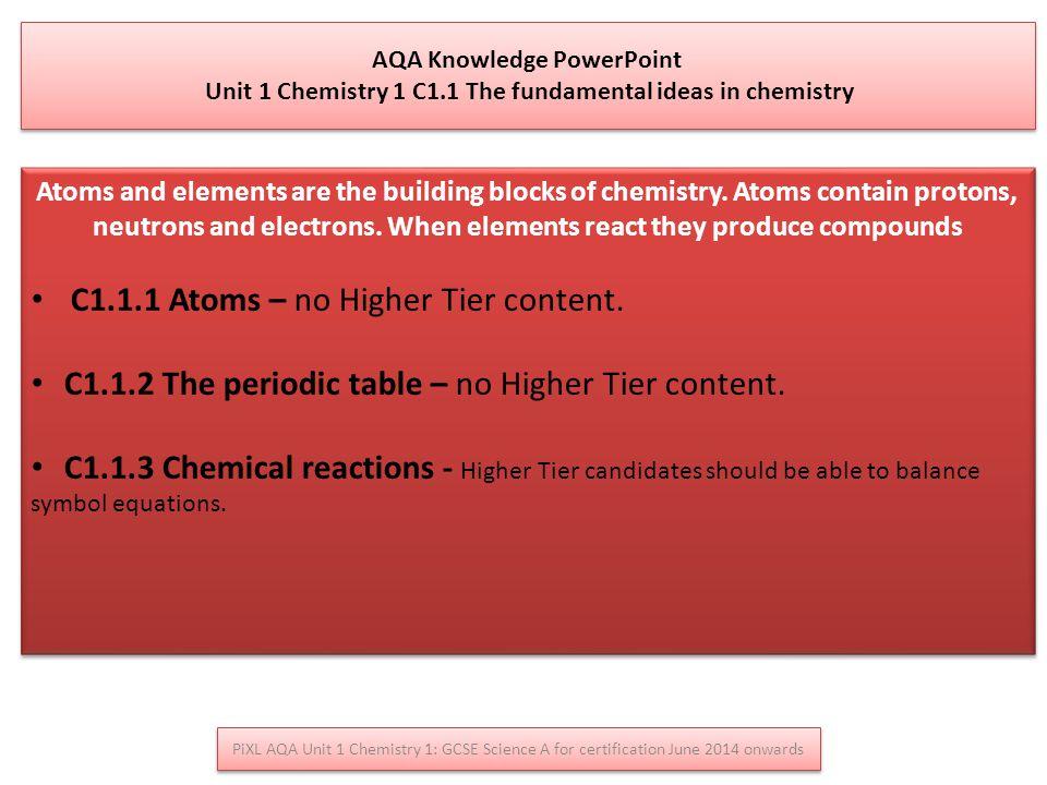 C1.1.1 Atoms – no Higher Tier content.