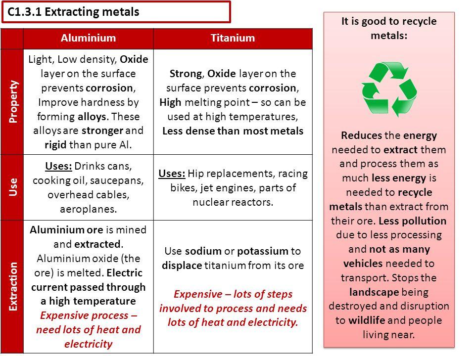 C1.3.1 Extracting metals It is good to recycle metals: