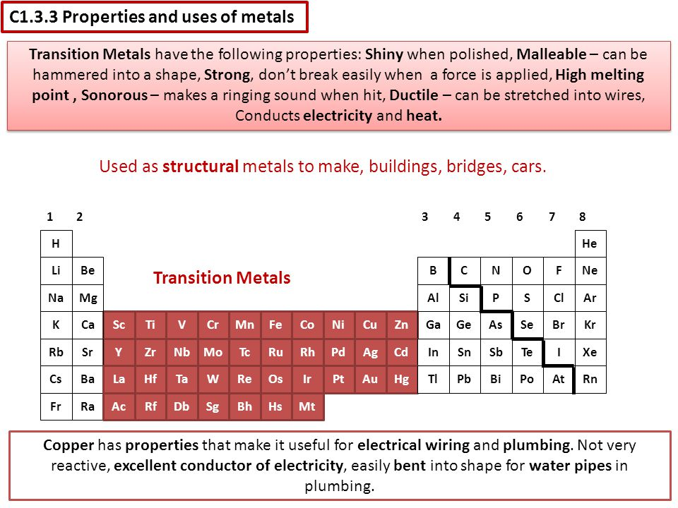 Used as structural metals to make, buildings, bridges, cars.