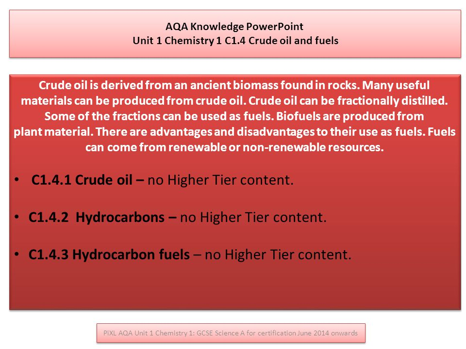 AQA Knowledge PowerPoint Unit 1 Chemistry 1 C1.4 Crude oil and fuels