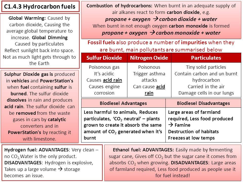 propane + oxygen  carbon monoxide + water Biodiesel Disadvantages