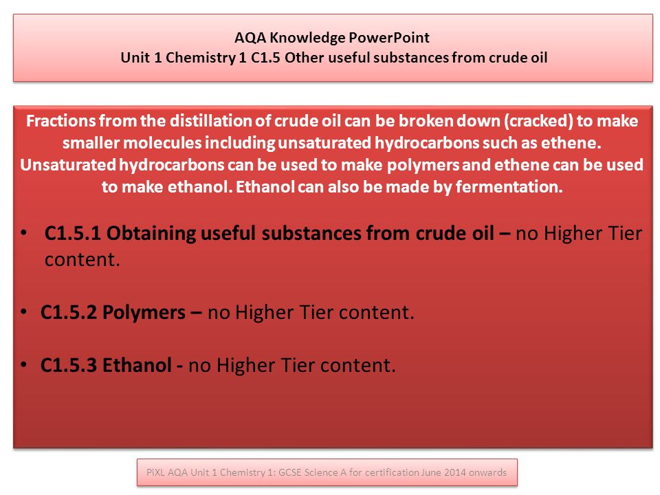 C1.5.2 Polymers – no Higher Tier content.
