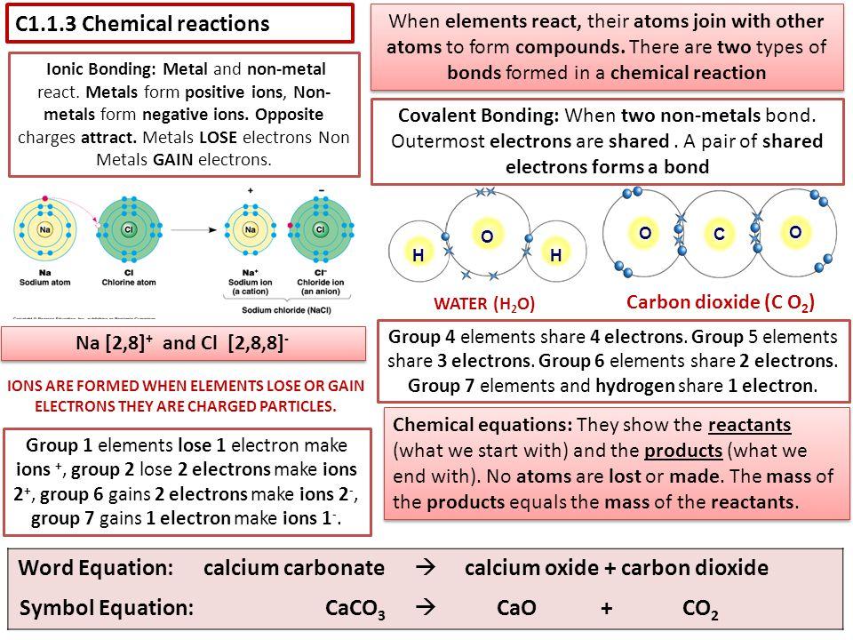 Word Equation: calcium carbonate  calcium oxide + carbon dioxide