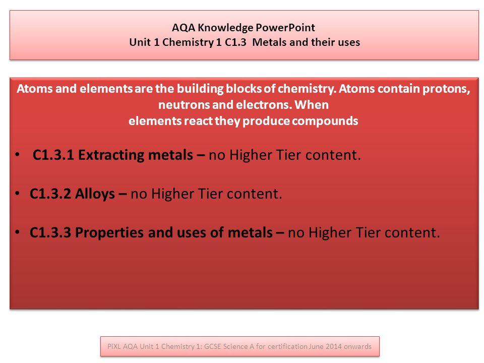 C1.3.1 Extracting metals – no Higher Tier content.