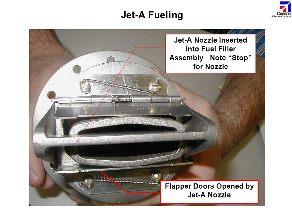 Jet-A Fueling Jet-A Nozzle Inserted into Fuel Filler Assembly Note Stop for Nozzle.