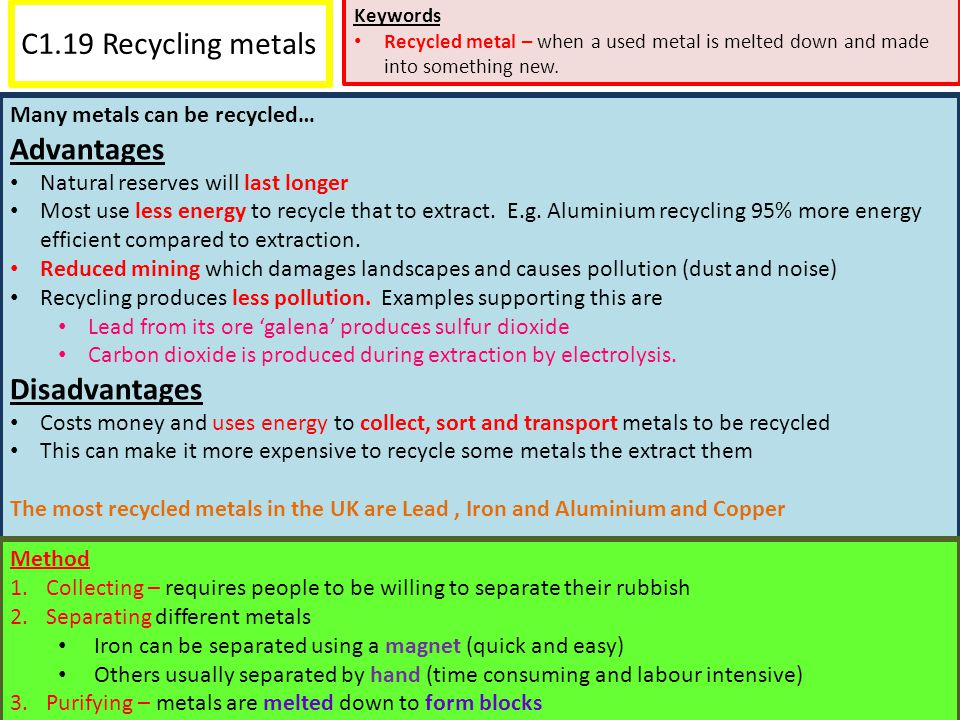 C1.19 Recycling metals Advantages Disadvantages