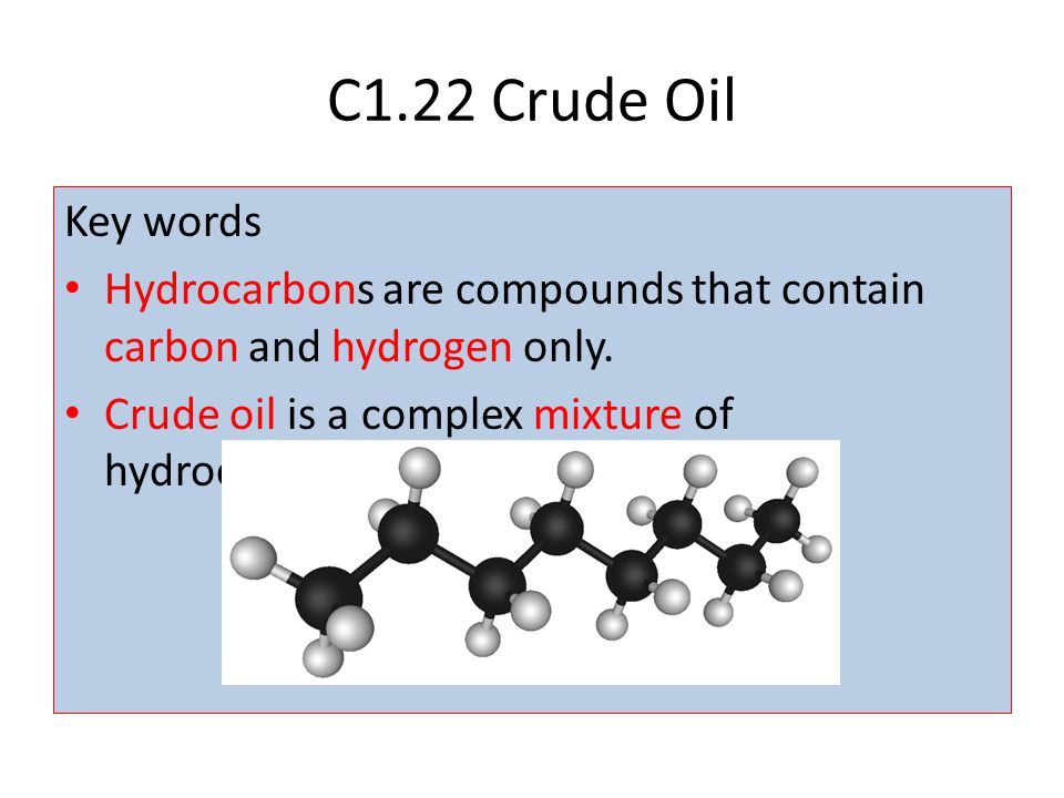 C1.22 Crude Oil Key words. Hydrocarbons are compounds that contain carbon and hydrogen only.