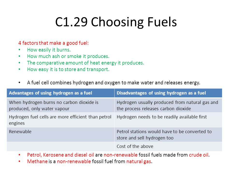 C1.29 Choosing Fuels 4 factors that make a good fuel: