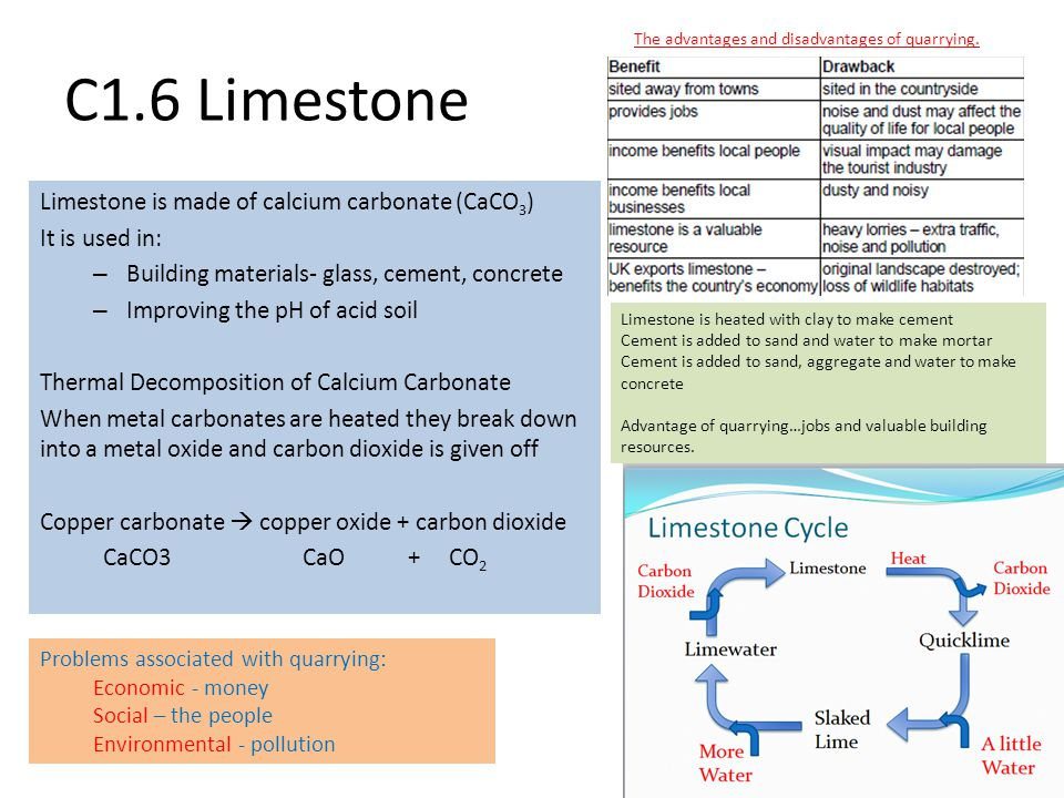 C1.6 Limestone Limestone is made of calcium carbonate (CaCO3)