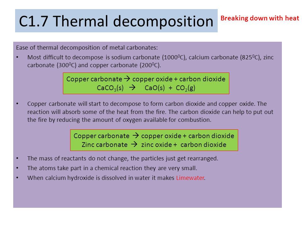 C1.7 Thermal decomposition
