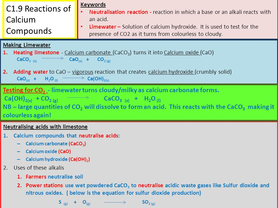 C1.9 Reactions of Calcium Compounds