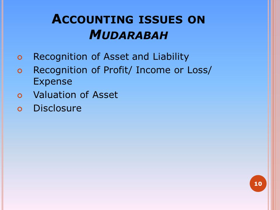 Accounting issues on Mudarabah