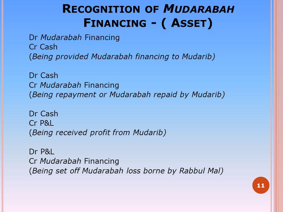 Recognition of Mudarabah Financing - ( Asset)