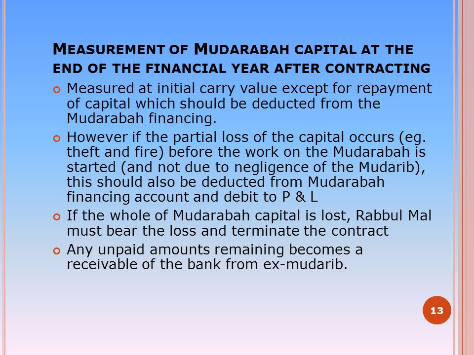 Measurement of Mudarabah capital at the end of the financial year after contracting