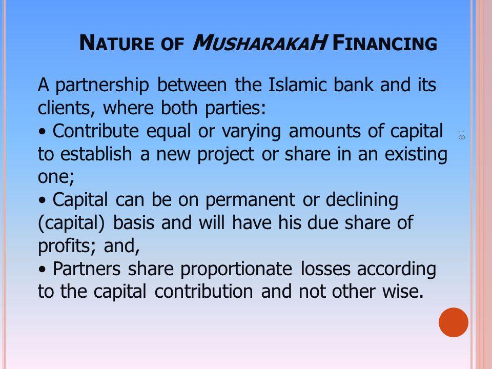 Nature of MusharakaH Financing
