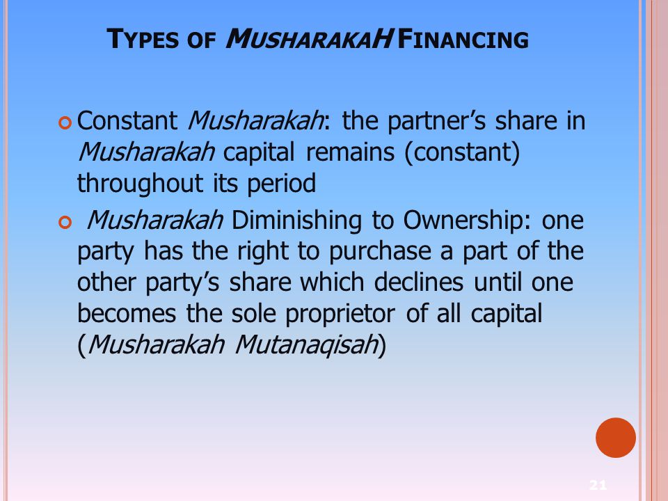 Types of MusharakaH Financing