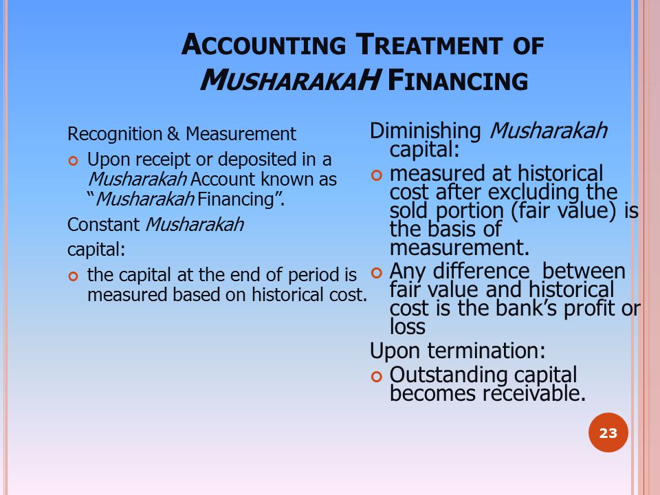 Accounting Treatment of MusharakaH Financing