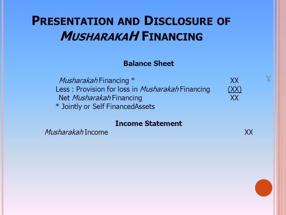 Presentation and Disclosure of MusharakaH Financing