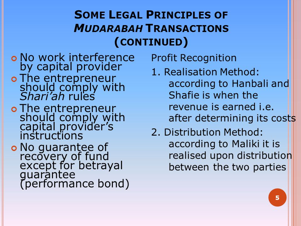 Some Legal Principles of Mudarabah Transactions (continued)