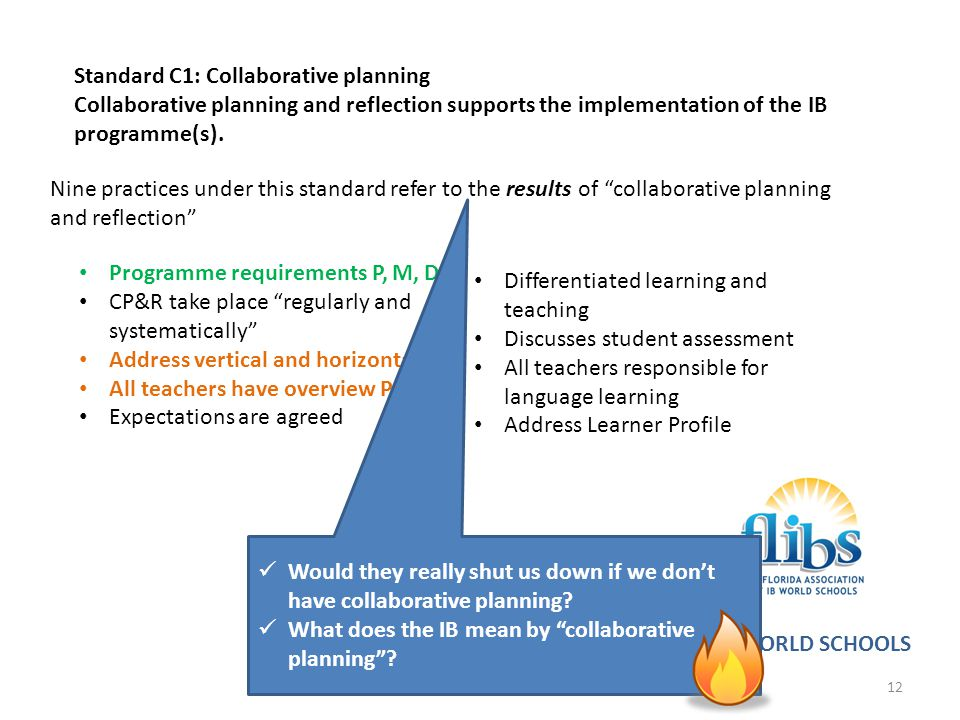 Standard C1: Collaborative planning