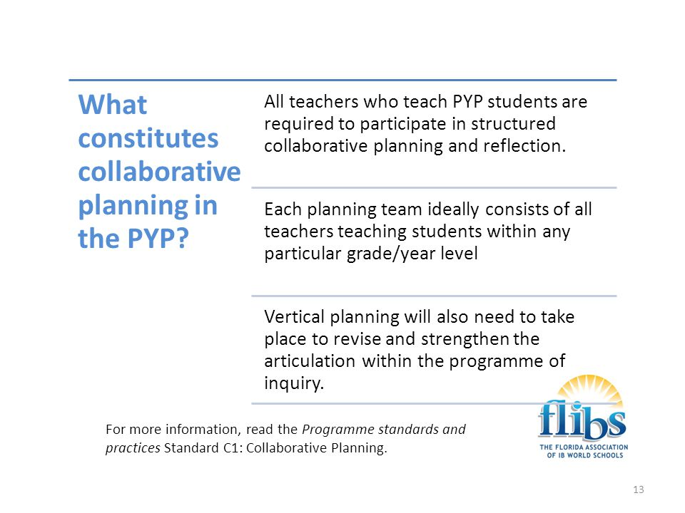 What constitutes collaborative planning in the PYP