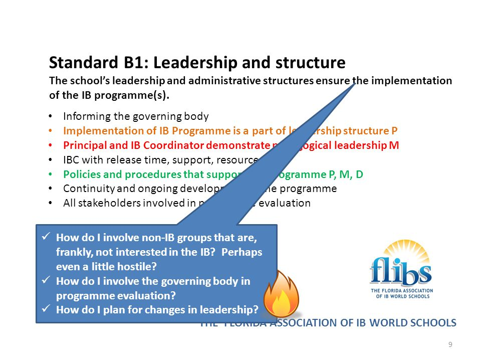 Standard B1: Leadership and structure