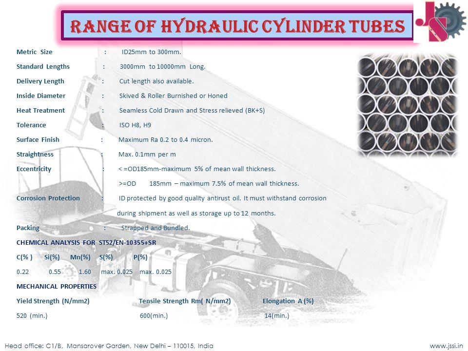 Range of Hydraulic cylinder Tubes