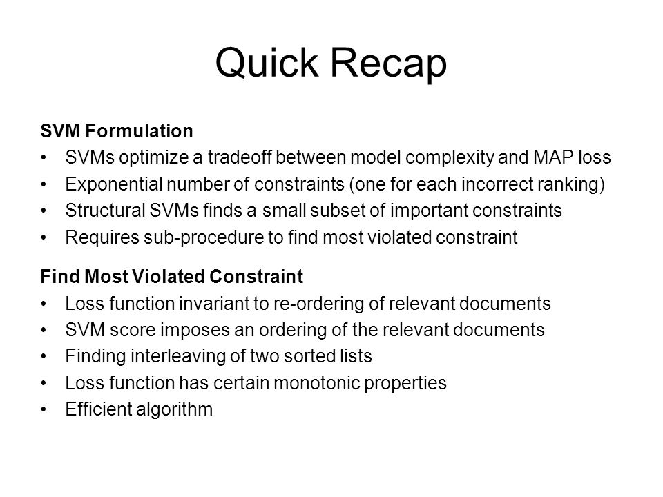 Quick Recap SVM Formulation