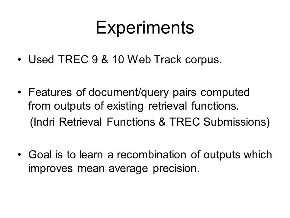 Experiments Used TREC 9 & 10 Web Track corpus.
