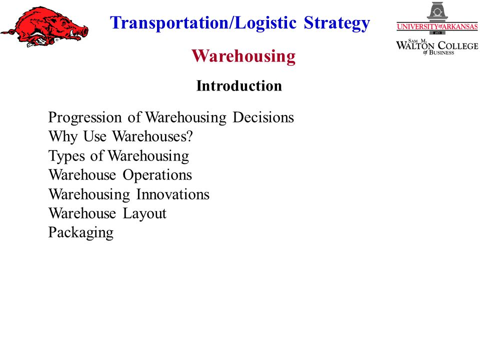 Introduction Progression of Warehousing Decisions. Why Use Warehouses Types of Warehousing. Warehouse Operations.
