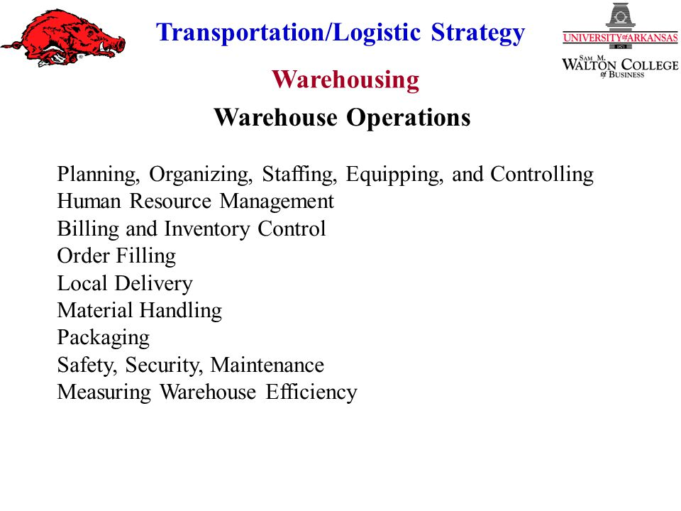 Warehouse Operations Planning, Organizing, Staffing, Equipping, and Controlling. Human Resource Management.