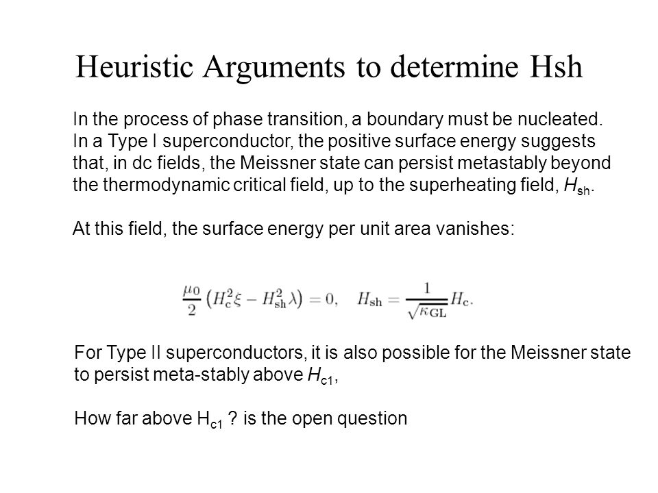 Heuristic Arguments to determine Hsh