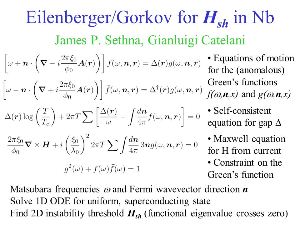 Eilenberger/Gorkov for Hsh in Nb