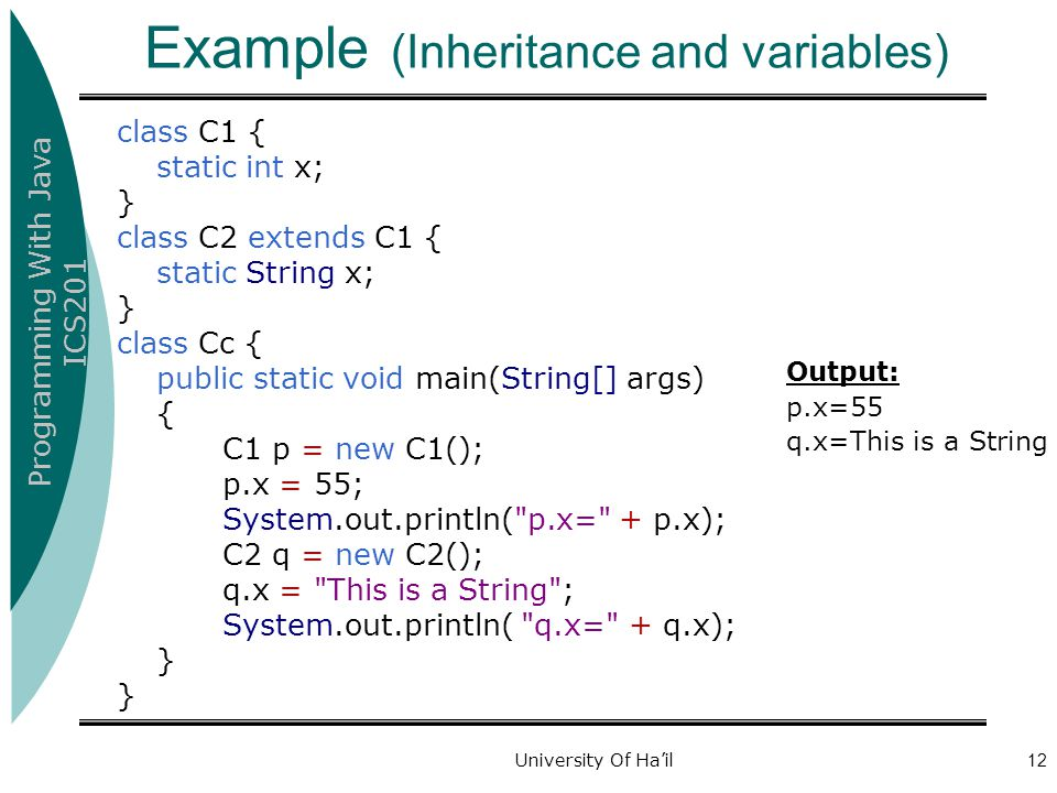 Example (Inheritance and variables)